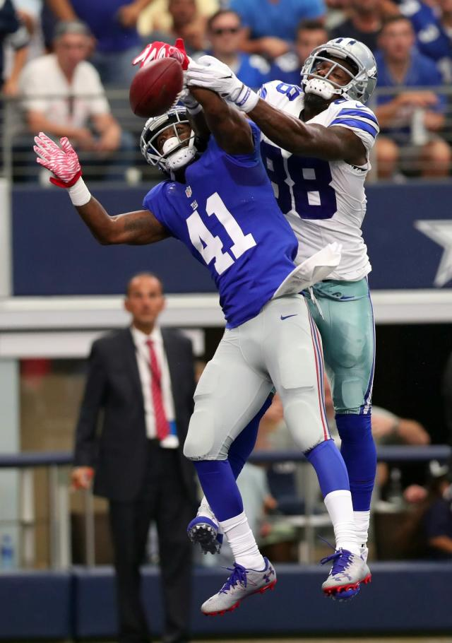 <p>Dominique Rodgers-Cromartie #41 of the New York Giants breaks up a pass against Dez Bryant #88 of the Dallas Cowboys at AT&T Stadium on September 11, 2016 in Arlington, Texas. (Photo by Tom Pennington/Getty Images) </p>