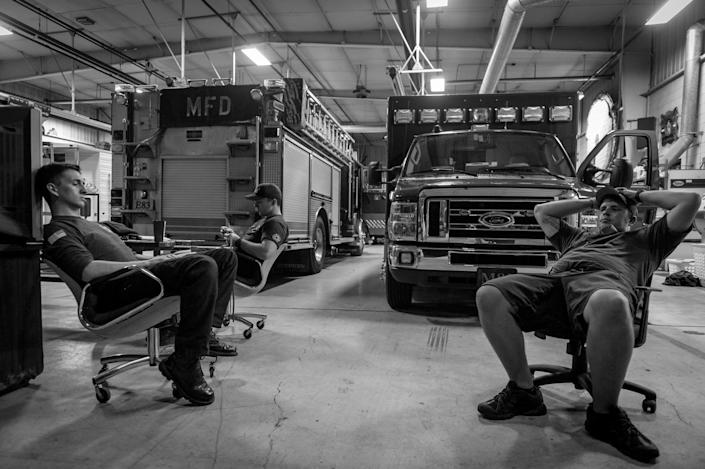 <p>Middletown Fire Department personnel wait for calls in Middletown, Ohio.<br> (Photograph by Mary F. Calvert for Yahoo News) </p>