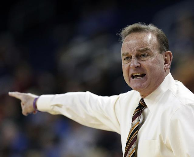 Mississippi State head coach Vic Schaefer yells from the sideline in the first half of a second-round women's Southeastern Conference tournament NCAA college basketball game against Florida, Thursday, March 6, 2014, in Duluth, Ga. (AP Photo/John Bazemore)