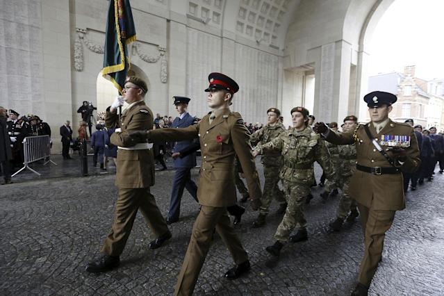 <p>The Last Post ceremony at the Commonwealth War Graves Commission Ypres Memorial at the Menenpoort in Ieper (Menin Gate, Ypres on the occasion of Armistice Day, Saturday, Nov. 11, 2017. (Photo: Nicolas Maeterlinck/Belga via ZUMA Press) </p>