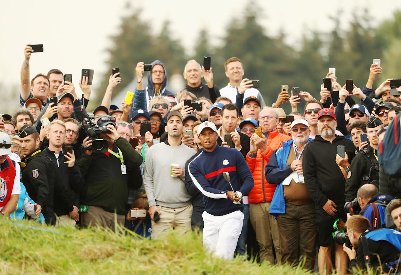 <p>Tiger Woods plays a shot on the sixth during the morning fourball matches of the 2018 Ryder Cup at Le Golf National in Paris, France. [Picture: Jamie Squire/Getty Images] </p>