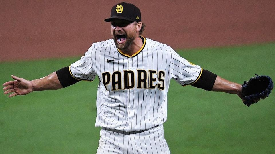 San Diego Padres relief pitcher Trevor Rosenthal reacts vs St. Louis Cardinals