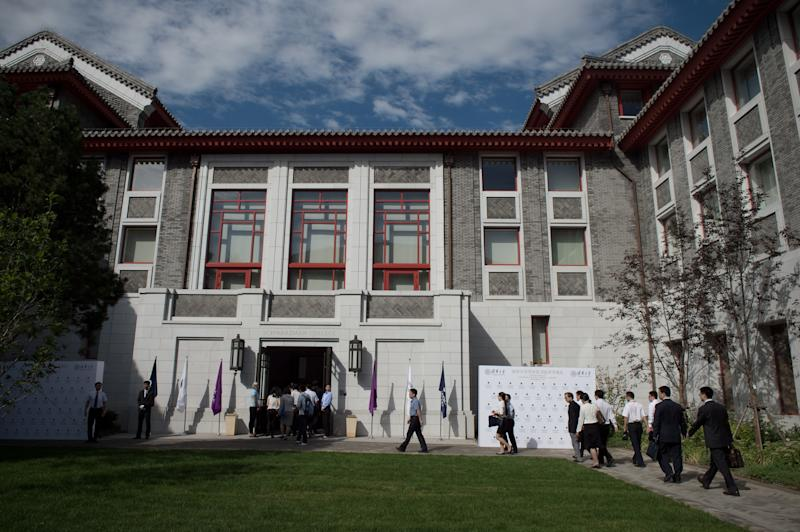 This picture taken on September 10, 2016 shows a general view of the front entrance of the Schwarzman college at Tsinghua university in Beijing. A US billionaire's giant gift to one of China's top universities for a programme echoing Oxford's Rhodes Scholarships comes as the country seeks to boost its schools' prestige while tightening ideological control in classrooms. / AFP / NICOLAS ASFOURI / To go with AFP story China-education-diplomacy-philanthropy, FOCUS by Becky Davis (Photo credit should read NICOLAS ASFOURI/AFP via Getty Images)