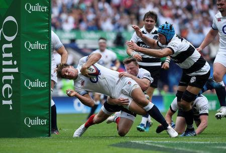 Rugby Union - England v Barbarians, Twickenham Stadium, London, Britain - May 27, 2018 England's Piers Francis scores their second try Action Images via Reuters/Tony O'Brien