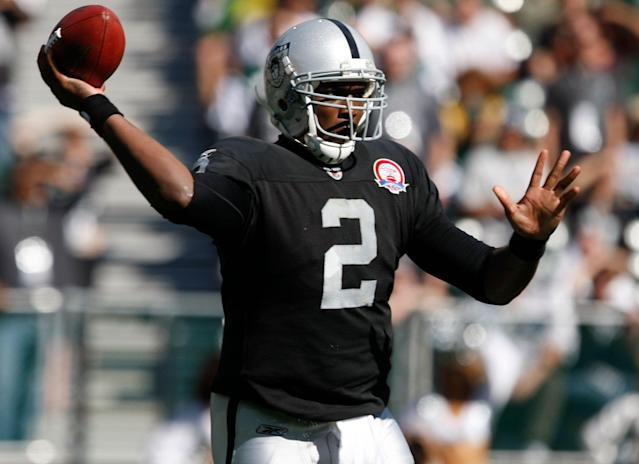 Former Oakland Raiders quarterback JaMarcus Russell will go down as one of the biggest NFL draft busts of all time. (AP)