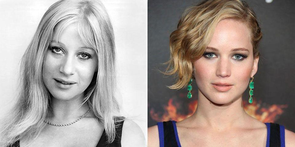 <p>From their big eyes to their full cheeks, it's hard to tell the difference between a young Helen Mirren and Jennifer Lawrence today. </p>