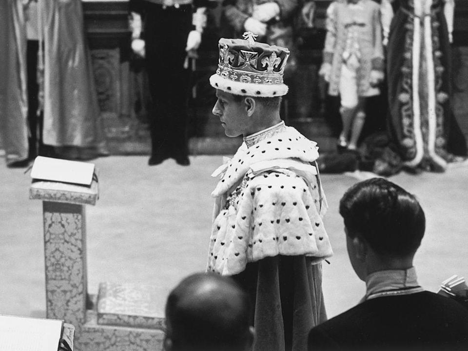 <p>Prince Philip, the royal consort, attending the coronation ceremony of Queen Elizabeth II at Westminster Abbey.</p>
