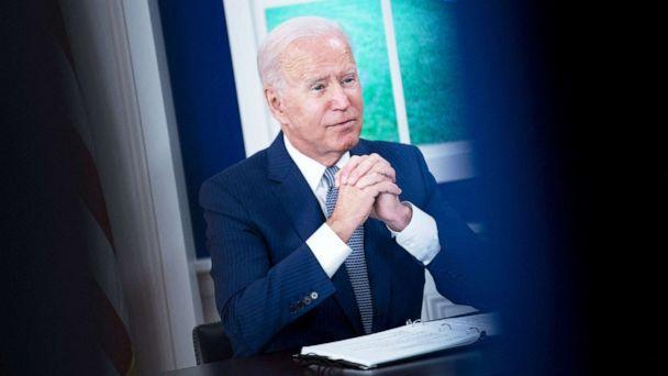 PHOTO: President Joe Biden convenes a virtual Covid-19 Summit on the sidelines of the UN General Assembly in the South Court Auditorium of the White House in Washington, Sept. 22, 2021. (Brendan Smialowski/AFP via Getty Images)