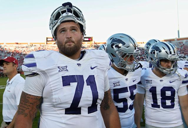 Versatility and physicality have helped Kansas State's Dalton Risner stand out in the crop of offensive linemen. (AP)