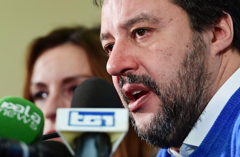 Leader of Italy's far-right League (Lega) party, Matteo Salvini addresses a press conference with centre-right Senator and regional candidate Lucia Borgonzoni (Rear) on January , 2020 in Bologna, a day after a regional vote in Emilia-Romagna. - Italy's populist leader Matteo Salvini failed to win a key regional election and topple the country's fragile coalition government, official results showed on January 27, 2020. (Photo by Miguel MEDINA / AFP) (Photo by MIGUEL MEDINA/AFP via Getty Images) (Photo: MIGUEL MEDINA via Getty Images)