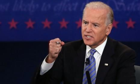 Joe Biden speaks during the vice-presidential debate on Thursday: Nothing in last night's match-up reconfigured the race between President Obama and Mitt Romney, says James Rainey at The Los Angeles Times.