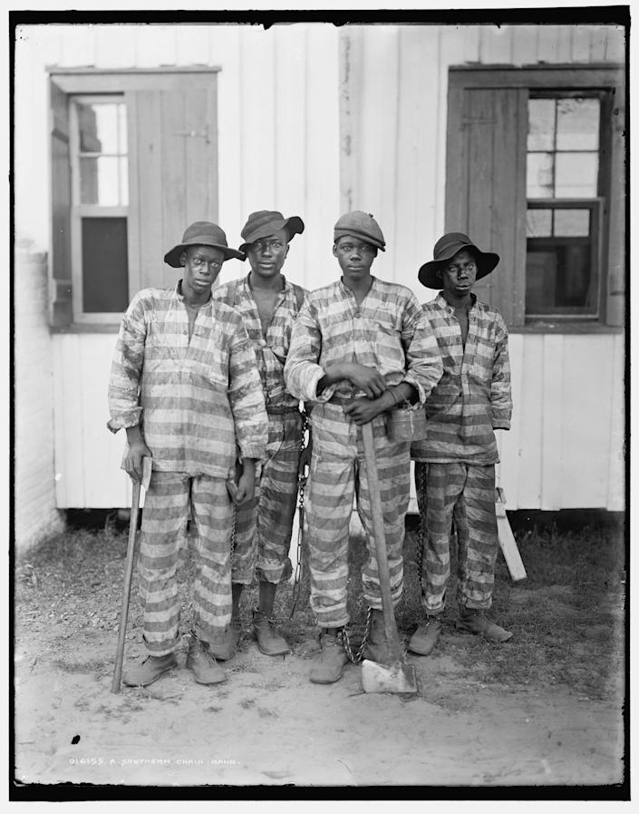 Portrait of a Southern chain gang, circa 1900s. The convict leasing system grew out of post Civil War Black Codes, which allowed Black people to be imprisoned for the most trivial offenses and then loaned out as free labor for businesses.