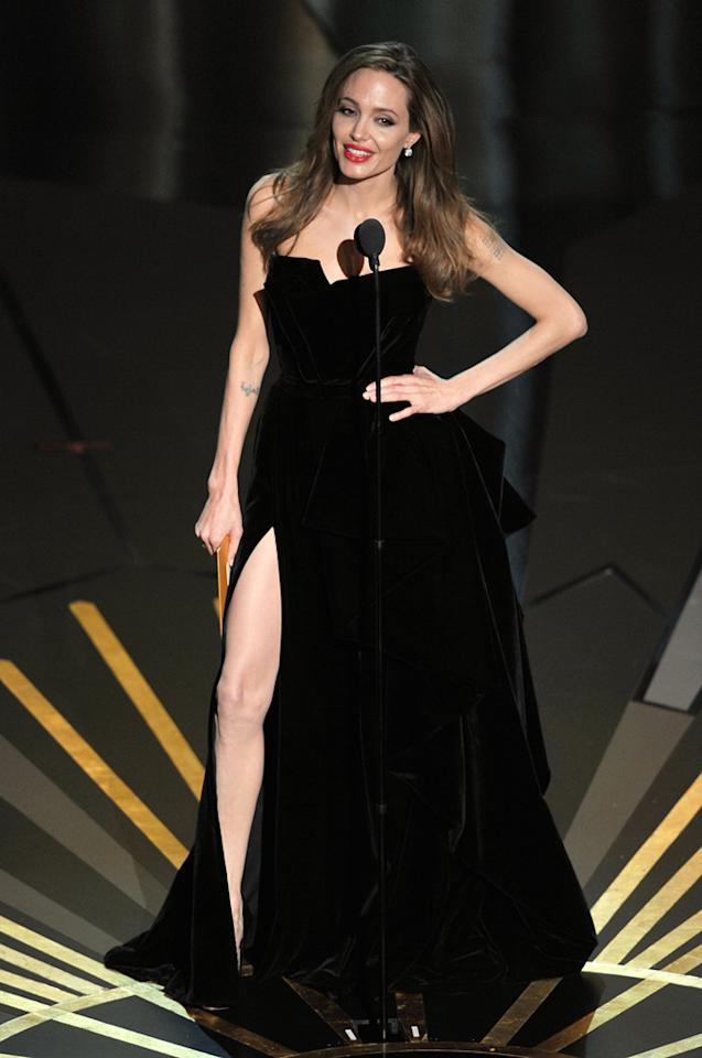 Angelina Jolie on stage during the 84th Annual Academy Awards in Hollywood, CA.