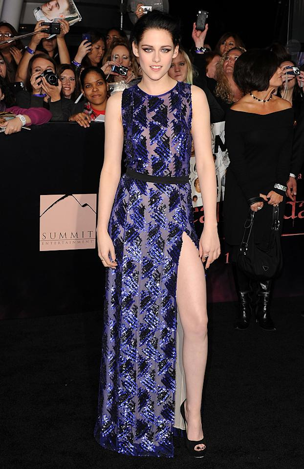 """""""Twilight"""" vixen Kristen Stewart, in the most hotly anticipated look of the year, delivered the goods in this J. Mendel dress for the Los Angeles premiere of """"The Twilight Saga: Breaking Dawn - Part 1"""" on November 14, 2011."""