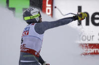 Norway's Kjetil Jansrud reacts in the finish area after the men's downhill race, at the alpine ski World Championships in Are, Sweden, Saturday, Feb. 9, 2019. (AP Photo/Marco Trovati)