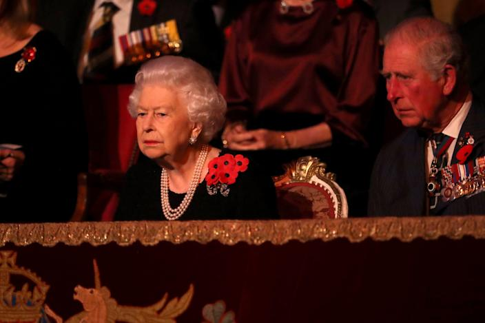 Queen Elizabeth II and Prince Charles, Prince of Wales attend the annual Royal British Legion Festival of Remembrance at the Royal Albert Hall on Nov.9, 2019 in London.