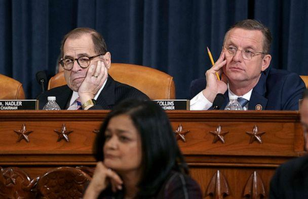 PHOTO: House Judiciary Committee Chairman Jerrold Nadler and Rep. Doug Collins, the ranking member, listen to testimony from legal scholars on Capitol Hill in Washington, Dec. 4, 2019. (J. Scott Applewhite/AP)