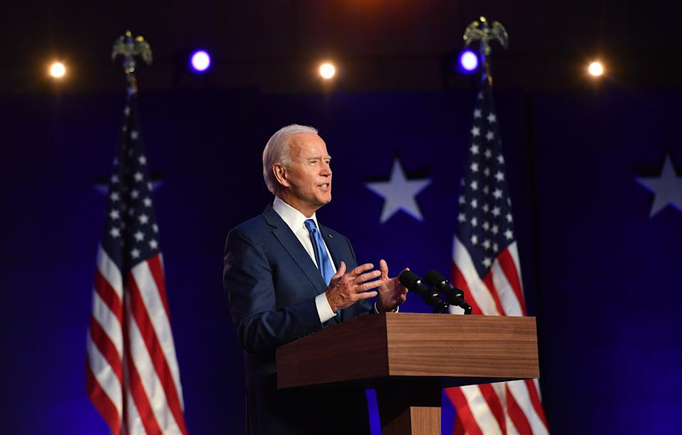 Democratic presidential nominee Joe Biden delivers remarks at the Chase Center in Wilmington, Delaware, on November 6, 2020. - Three days after the US election in which there was a record turnout of 160 million voters, a winner had yet to be declared. (Photo by ANGELA WEISS / AFP) (Photo by ANGELA WEISS/AFP via Getty Images)