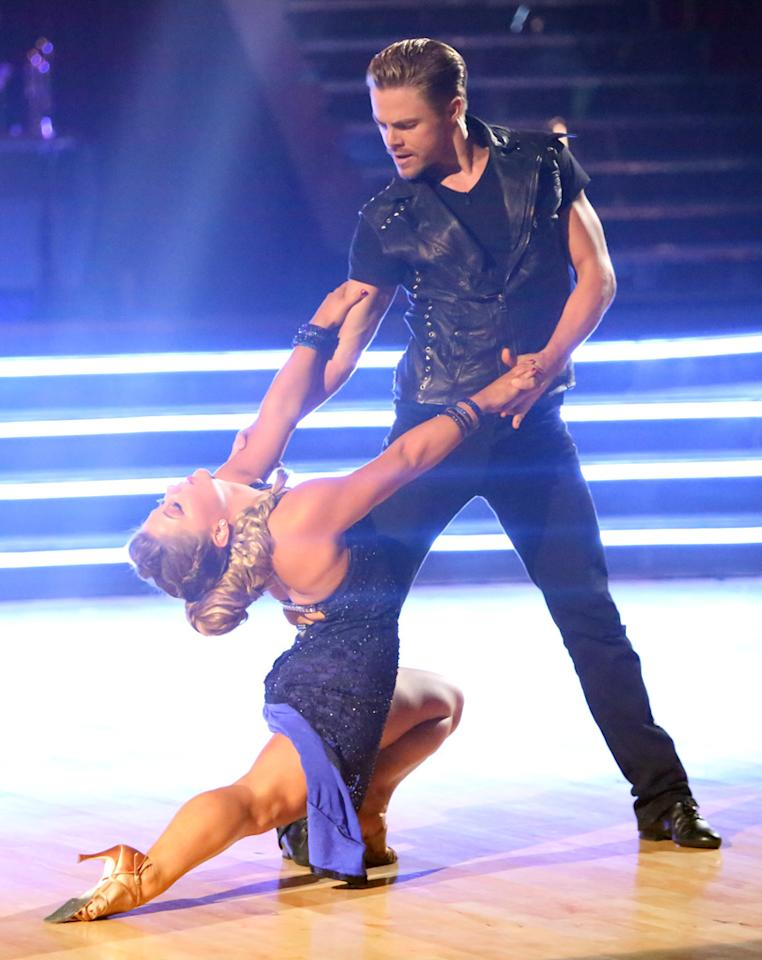 """Shawn Johnson and Derek Hough perform on """"Dancing With the Stars: All-Stars."""""""