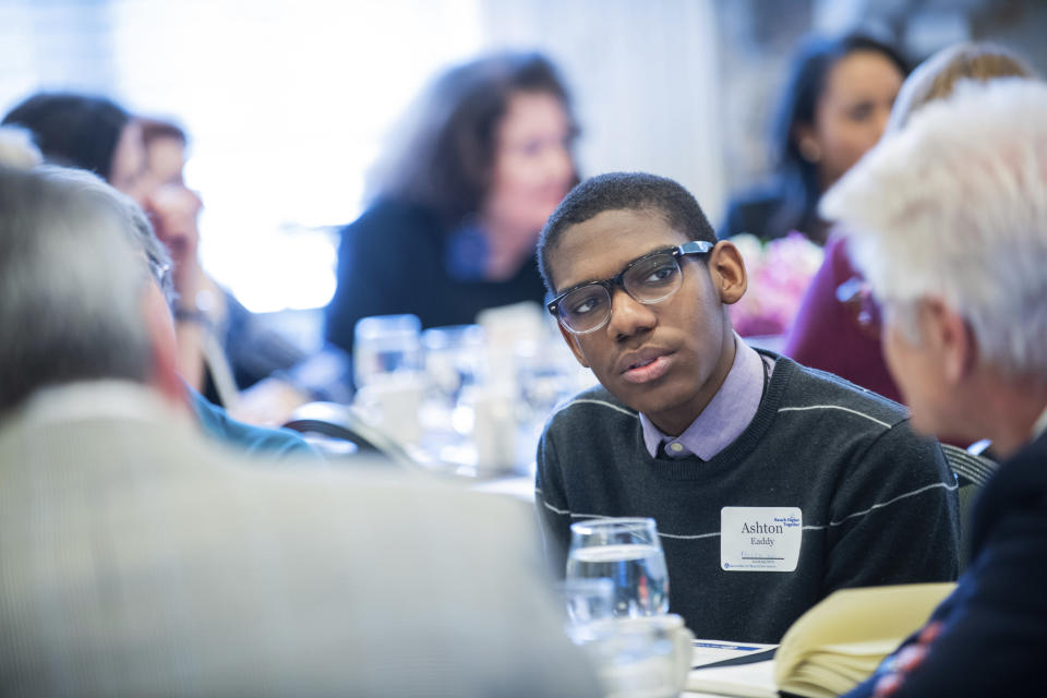In this image provided by Grand Valley State University, students, in 2019, participate in a summit with education, business and community leaders at Grand Valley State University in Allendale, Mich., to explore how to create better education models for students. The innovation that emerged from the gathering helped in designing REP4. (Kendra Stanley-Mills/Grand Valley State University via AP)