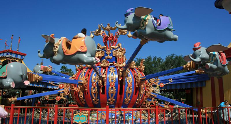 Photo of a Dumbo ride at Disneyland. The film was apparently an example of Walt Disney's racist history.