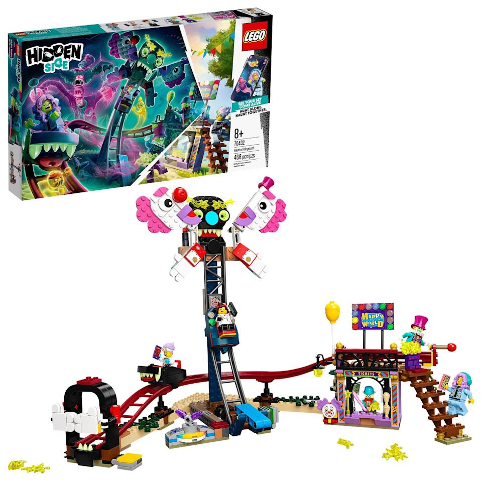 "<p>The <a href=""https://www.popsugar.com/buy/Lego-Hidden-Side-Haunted-Fairground-572085?p_name=Lego%20Hidden%20Side%20Haunted%20Fairground&retailer=walmart.com&pid=572085&price=40&evar1=moms%3Aus&evar9=47243673&evar98=https%3A%2F%2Fwww.popsugar.com%2Ffamily%2Fphoto-gallery%2F47243673%2Fimage%2F47243790%2FLego-Hidden-Side-Haunted-Fairground&list1=toys%2Ctoy%20fair%2Ckid%20shopping%2Ckids%20toys&prop13=mobile&pdata=1"" class=""link rapid-noclick-resp"" rel=""nofollow noopener"" target=""_blank"" data-ylk=""slk:Lego Hidden Side Haunted Fairground"">Lego Hidden Side Haunted Fairground</a> ($40) has 466 pieces and is best suited for kids ages 8 and up.</p>"