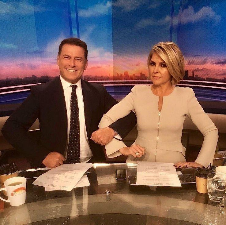 Today show co-hosts Karl Stefanovic and Georgie Gardner link arms awkwardly, in a bizarre instagram post, proving they are a 'united front'. Source: Instagram/thetodayshow