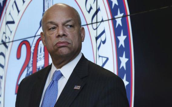 Homeland Security Secretary Jeh Johnson listens to a question during a news conference about the security for the presidential inauguration and activities related to it, Friday, Jan. 13, 2017, at the Multi Agency Communications Center (MACC) in Dulles, Va.