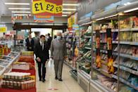 <p>Iceland Food's managing director, Richard Walker, gave Prince Charles a tour of the market. </p>