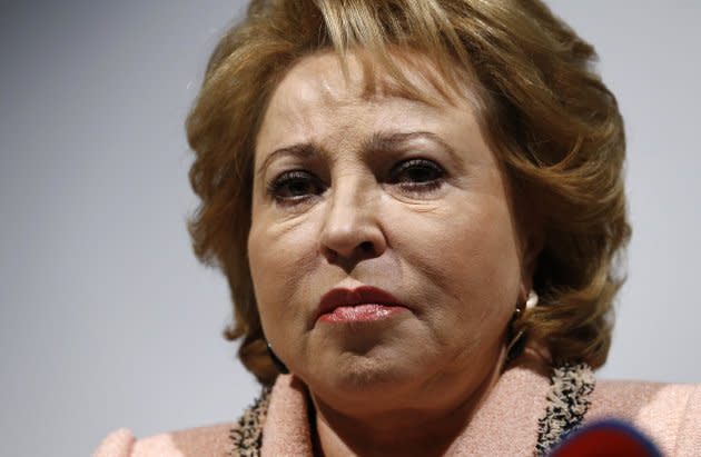 Chairwoman of the Russian Federation Council Valentina Matviyenko attends a news conference in Geneva, Switzerland, on Oct. 19, 2015.