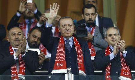 Football Soccer - Turkey v Finland - 2018 World Cup Qualifying European Zone - Antalya arena, Antalya, Turkey - 24/3/17 Turkey's President Tayyip Erdogan, Foreign Minister Mevlut Cavusoglu and Sports Minister Akif Cagatay Kilic react after Turkey's win. REUTERS/Murad Sezer