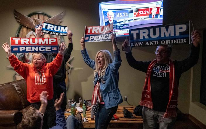 Supporters of US President Donald Trump celebrate as they watch Ohio being called for Donald Trump at a Republican watch party at Huron Vally Guns in New Hudson, Michigan - AFP