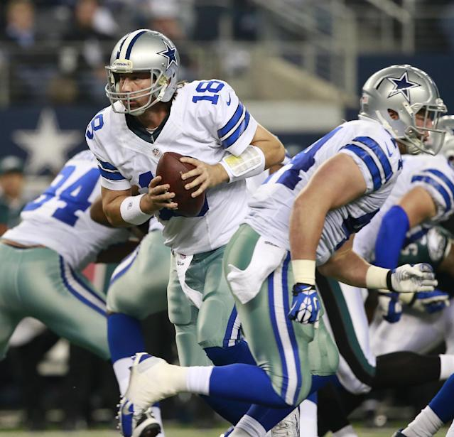 Dallas Cowboys quarterback Kyle Orton (18) looks for his running back in the first half of an NFL football game Sunday, Dec. 29, 2013, in Arlington, Texas. (AP Photo/The Waco Tribune-Herald, Jose Yau)