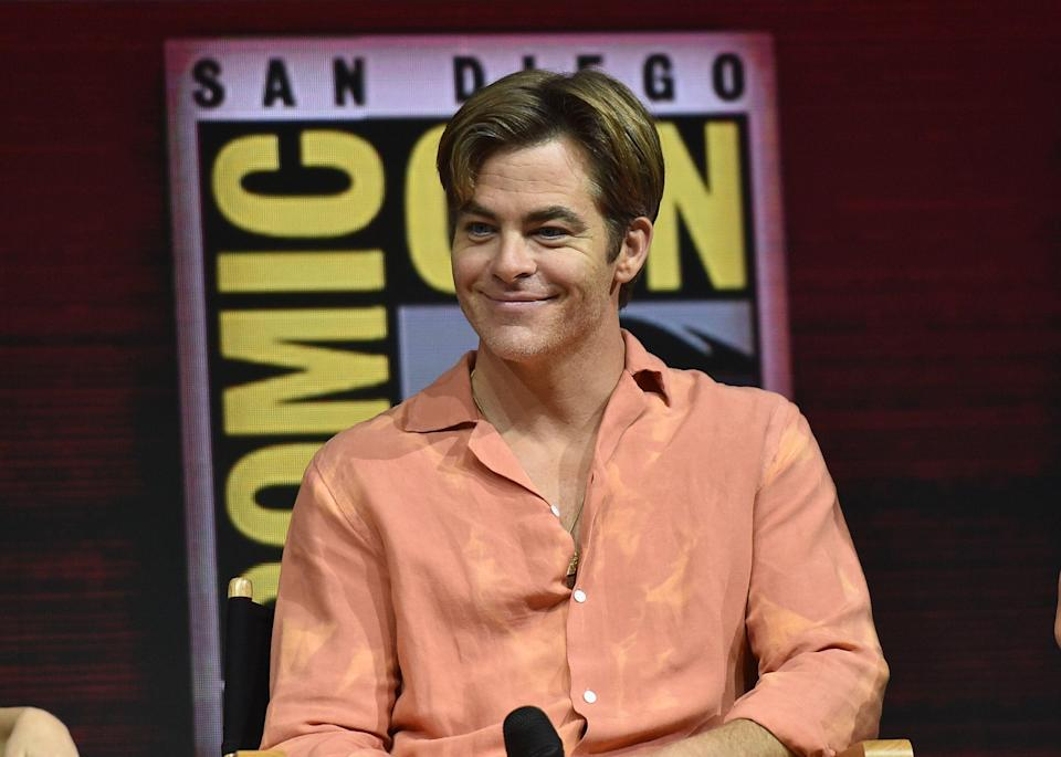 """Chris Pine participates in the Warner Bros. Theatrical Panel for """"Wonder Woman 1984"""" during Comic Con in San Diego, July 21, 2018. (Photo by CHRIS DELMAS / AFP)        (Photo credit should read CHRIS DELMAS/AFP/Getty Images)"""