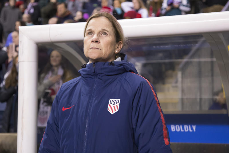USA head coach Jill Ellis looks on prior to the first half of SheBelieves Cup soccer match against the Japan, Wednesday, Feb. 27, 2019, in Chester, Pa. (AP Photo/Chris Szagola)