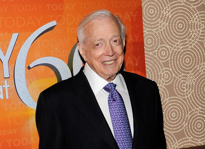 """This Jan. 12, 2012 file photo shows Hugh Downs at the """"Today"""" show 60th anniversary celebration in New York. Downs, a genial and near-constant presence on television from the 1950s through the 1990s, has died. His family said Downs died of natural causes Wednesday, July 1, 2020, in Scottsdale, Ariz. He was 99. Downs was a host of the 'Today' show on NBC, worked on the 'Tonight' show when Jack Paar was in charge, and hosted the long-running game show """"Concentration."""""""