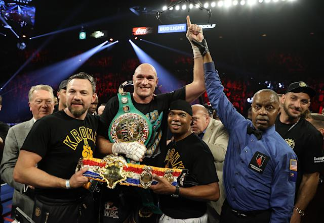 Tyson Fury celebrates his win against Deontay Wilder. (Photo by Al Bello/Getty Images)