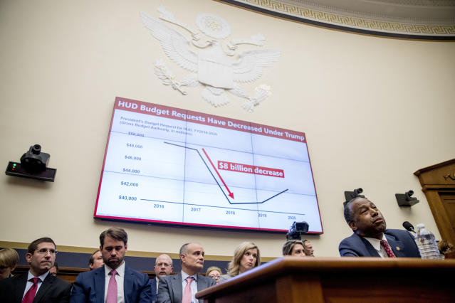 """A graph that reads """"HUD Budget Request Have Decreased Under Trump"""" as Housing and Urban Development Secretary Ben Carson testifies at a House Financial Services Committee oversight hearing on Capitol Hill in Washington, Tuesday, May 21, 2019.(AP Photo/Andrew Harnik)"""