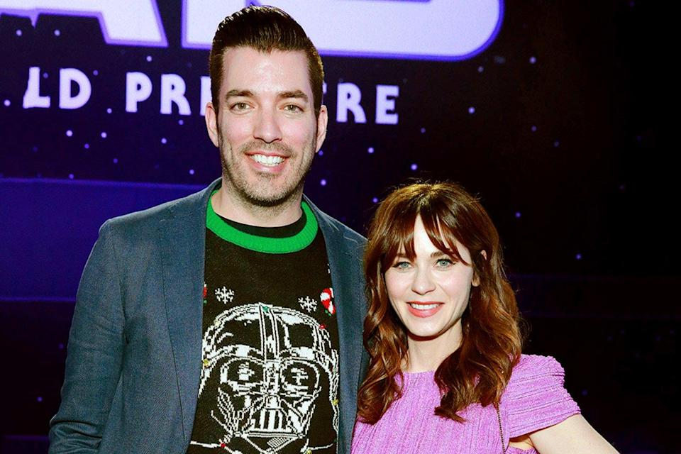 """Scott and Deschanel went on another double date with Scott's twin brother,<a href=""""https://people.com/tag/drew-scott/"""" rel=""""nofollow noopener"""" target=""""_blank"""" data-ylk=""""slk:Drew,"""" class=""""link rapid-noclick-resp""""> Drew,</a> and Drew's wife, <a href=""""https://people.com/home/drew-scott-wife-linda-phan-celebrate-1-year-anniversary/"""" rel=""""nofollow noopener"""" target=""""_blank"""" data-ylk=""""slk:Linda Phan,"""" class=""""link rapid-noclick-resp"""">Linda Phan,</a> to attend the premiere of Disney's <em>Star Wars: The Rise of Skywalker.</em>"""