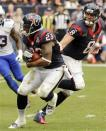 Houston Texans quarterback Matt Schaub (8) hands off the ball to running back Arian Foster (23) in the fourth quarter of an NFL football game against the Buffalo Bills, Sunday, Nov. 4, 2012, in Houston. (AP Photo/Dave Einsel)