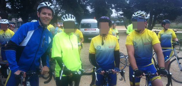 Cycle tragedy: Jared Dunscombe (far left) was hit and killed by a truck during a Rotary Club charity cycle ride. Photo: Supplied