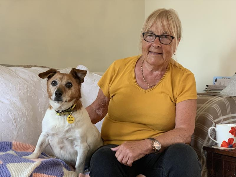 "Janet Hall with 17-year-old Tonks the Jack Russell. See SWNS copy SWMDdog: The oldest pooch in care in Britain has finally found a ""forever home"". 17-year-old Tonks was being cared for at the Dogs Trust Kenilworth in Warwickshire after being found on the streets. The charity launched an appeal to find a home for the loveable Jack Russell Terrier."