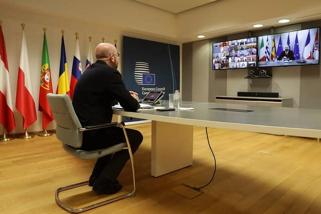 The President of the European Council Charles Michel participates in a video call of world leaders from the G20