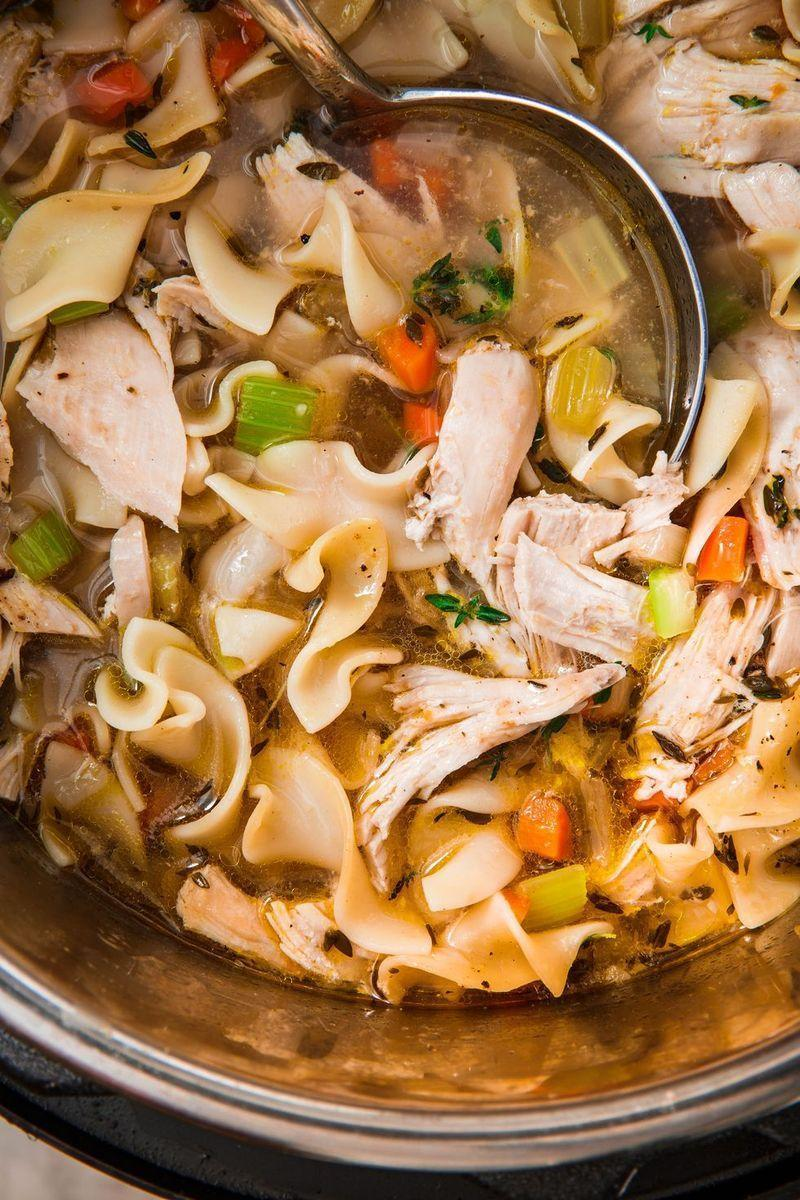 """<p>Is there anything more comforting than a bowl of <a href=""""https://www.delish.com/uk/cooking/recipes/a31728080/homemade-chicken-noodle-soup-recipe/"""" rel=""""nofollow noopener"""" target=""""_blank"""" data-ylk=""""slk:Chicken Noodle Soup"""" class=""""link rapid-noclick-resp"""">Chicken Noodle Soup</a>? This Instant Pot recipe makes light work of this homestyle classic. Using the sauté feature, you can easily develop flavours by cooking the mirepoix (that's onions, carrots, and celery) before adding the remaining ingredients.</p><p>Get the <a href=""""https://www.delish.com/uk/cooking/recipes/a30252267/instant-pot-chicken-soup/"""" rel=""""nofollow noopener"""" target=""""_blank"""" data-ylk=""""slk:Instant Pot Chicken Noodle Soup"""" class=""""link rapid-noclick-resp"""">Instant Pot Chicken Noodle Soup</a> recipe.</p>"""