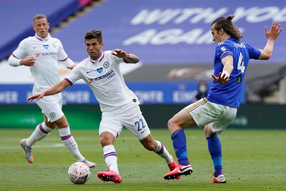 Christian Pulisic (middle) put in another strong performance for Chelsea in Saturday's FA Cup quarterfinal win over Leicester before leaving the match with what appeared to be a calf injury. (Tim Keeton/Getty Images)