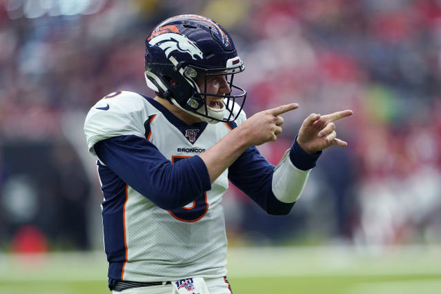 Denver Broncos quarterback Drew Lock (3) celebrates a touchdown against the Houston Texans during the second half of an NFL football game Sunday, Dec. 8, 2019, in Houston. (AP Photo/David J. Phillip)