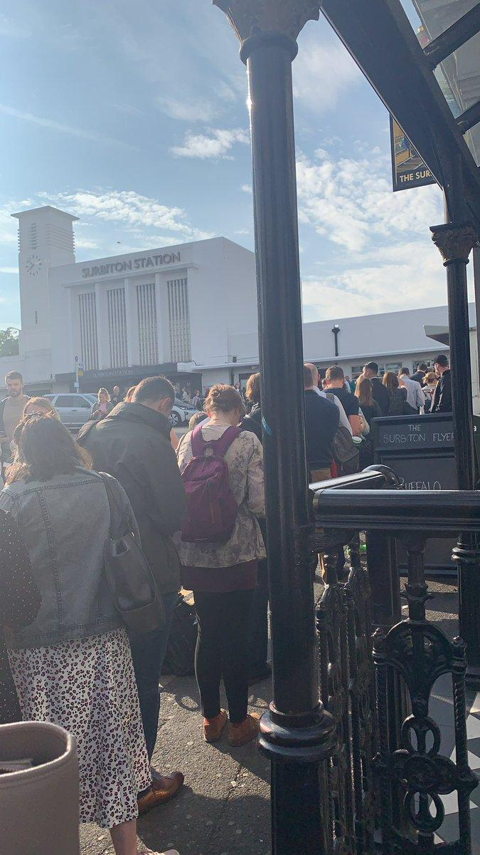 People queuing to access Surbiton station on Tuesday morning (Olivia Nihad/@OliviaNihad/Twitter)