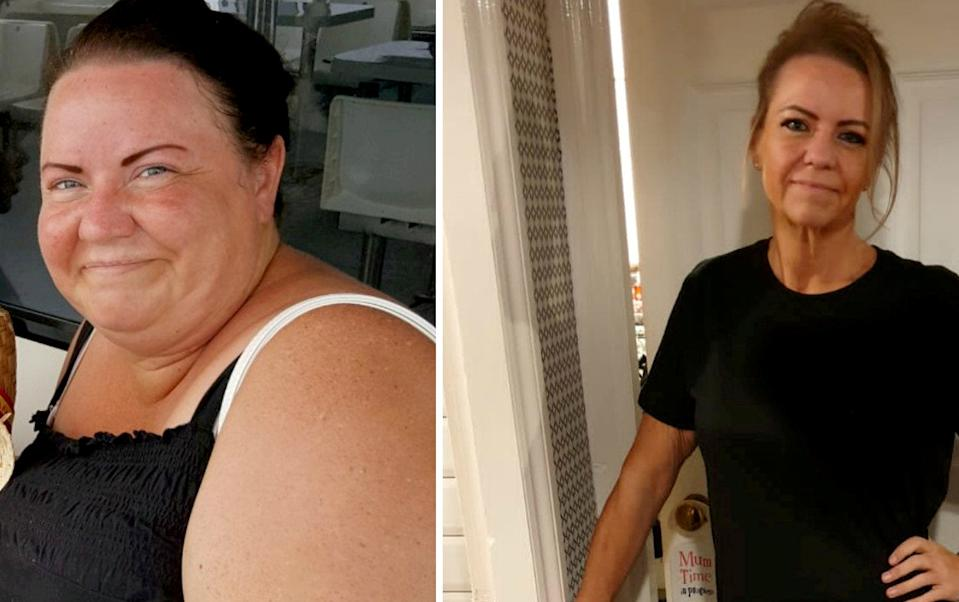 Emma Forrest-Leigh before and after her weight loss. (SWNS)