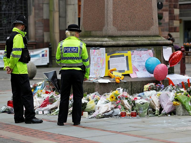 Floral tributes left in central Manchester for victims of the attack: Reuters