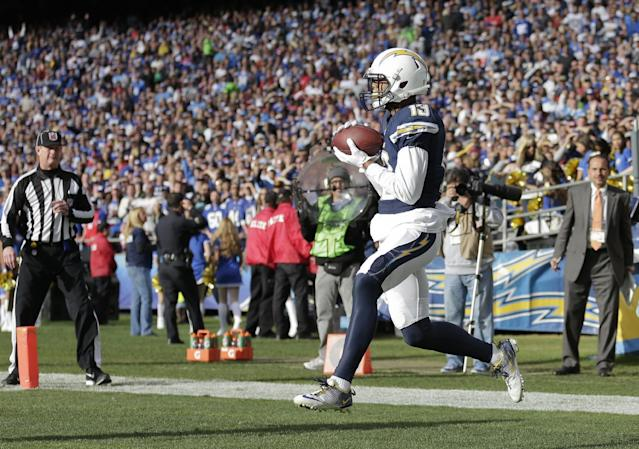 San Diego Chargers wide receiver Keenan Allen catches a four yard touchdown pass against the New York Giants during the first half of an NFL football game Sunday, Dec. 8, 2013, in San Diego. (AP Photo/Gregory Bull)